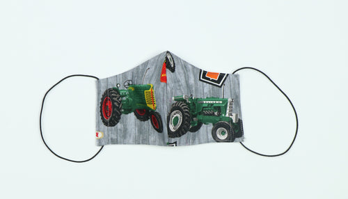 Face Mask Displaying Oliver Tractors, Gray, Kids Sizes