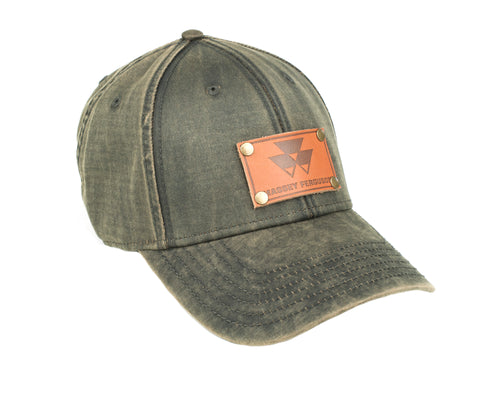 Massey Ferguson Leather Emblem Hat, Oil Distressed