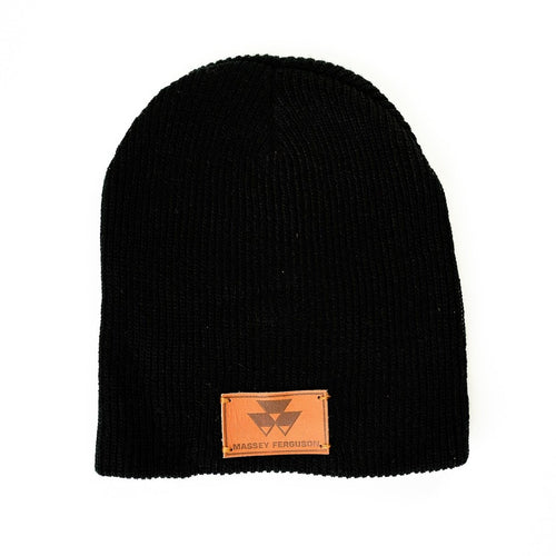 Massey Ferguson Hat, Leather Emblem, Black Knit