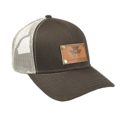 Massey Ferguson Leather Emblem Hat, Brown Mesh
