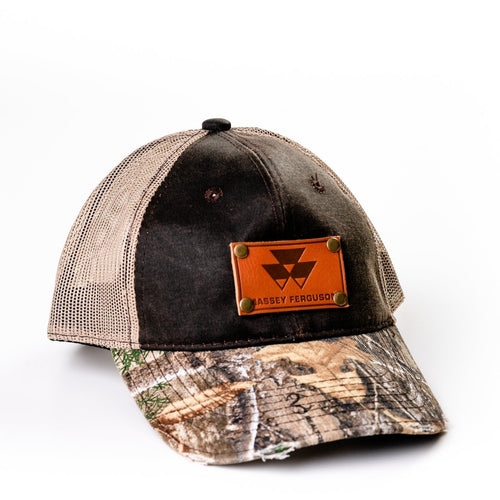 Massey Ferguson Leather Emblem Hat, Distressed Camo Mesh