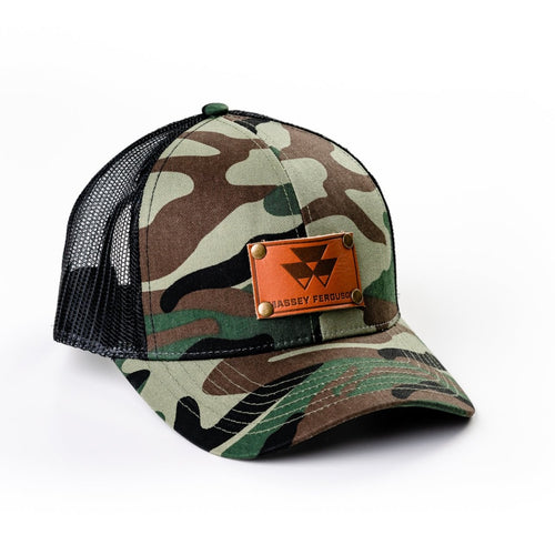 Massey Ferguson Leather Emblem Hat, Generic Camouflage