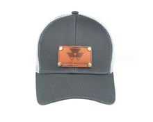 Load image into Gallery viewer, Massey Ferguson Leather Emblem Hat, Gray/White Mesh