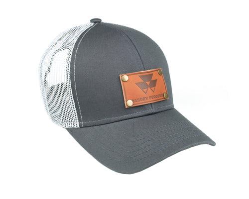 Massey Ferguson Leather Emblem Hat, Gray/White Mesh