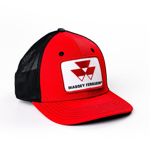 Massey Ferguson Logo Hat, Flex Fit, Red with Black Mesh