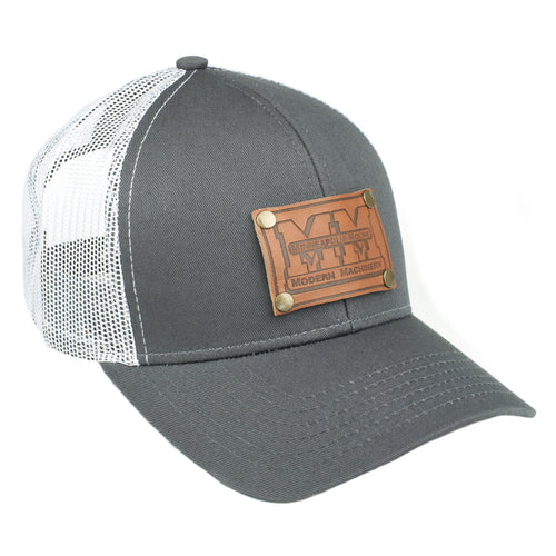 Minneapolis Moline Leather Emblem Hat, Gray and White