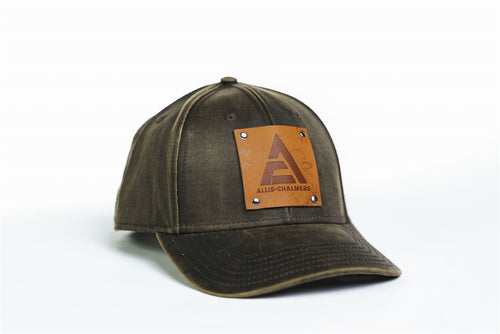 Allis Chalmers Logo Hat, Leather Emblem, Oil Distressed
