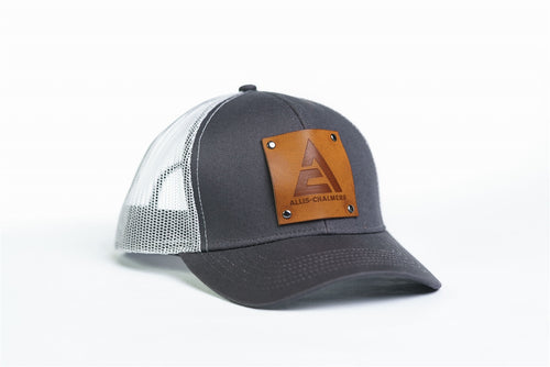 Allis Chalmers Logo Hat, Leather Emblem, Gray/White