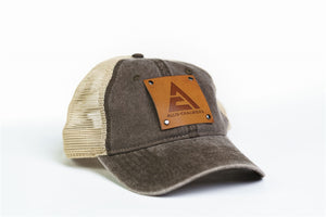 Allis Chalmers Logo Hat, Leather Emblem, Tan Mesh Back