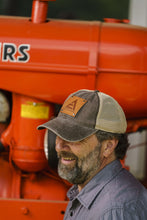 Load image into Gallery viewer, Allis Chalmers Logo Hat, Leather Emblem, Tan Mesh Back