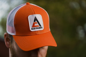 Allis Chalmers Hat, new logo, orange with white mesh