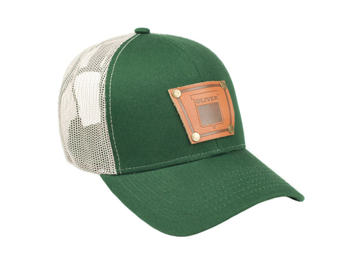 Keystone Oliver Leather Emblem Hat, Green Mesh