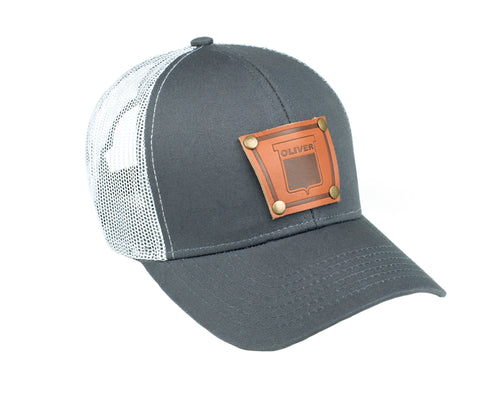 Keystone Oliver Leather Emblem Hat, Gray/White Mesh