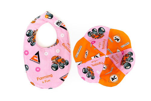 Allis Chalmers Baby Set: Bib and Sun Hat, Pink