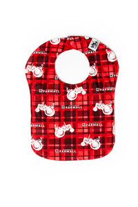 Farmall Tractor Baby Bib, Red Plaid with Tractor Silhouettes