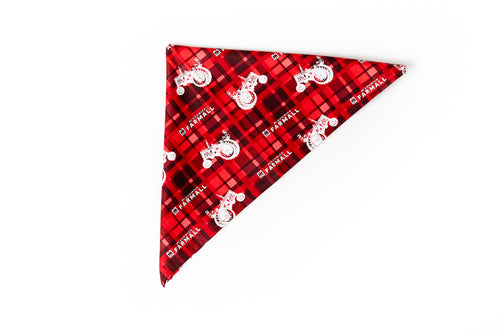 Farmall and IH Logo Dog Bandanna, Red Plaid