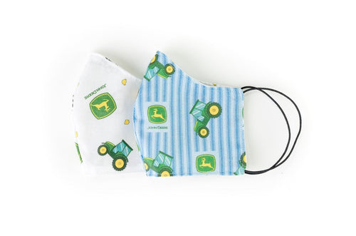 Face Masks Displaying John Deere Tractors and Logos, Youth Size, Elastic: Purchase as a Set or Individually