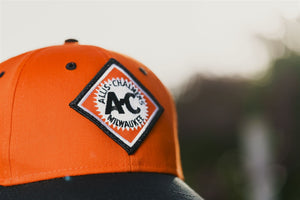 Allis Chalmers Hat, vintage logo, orange and black