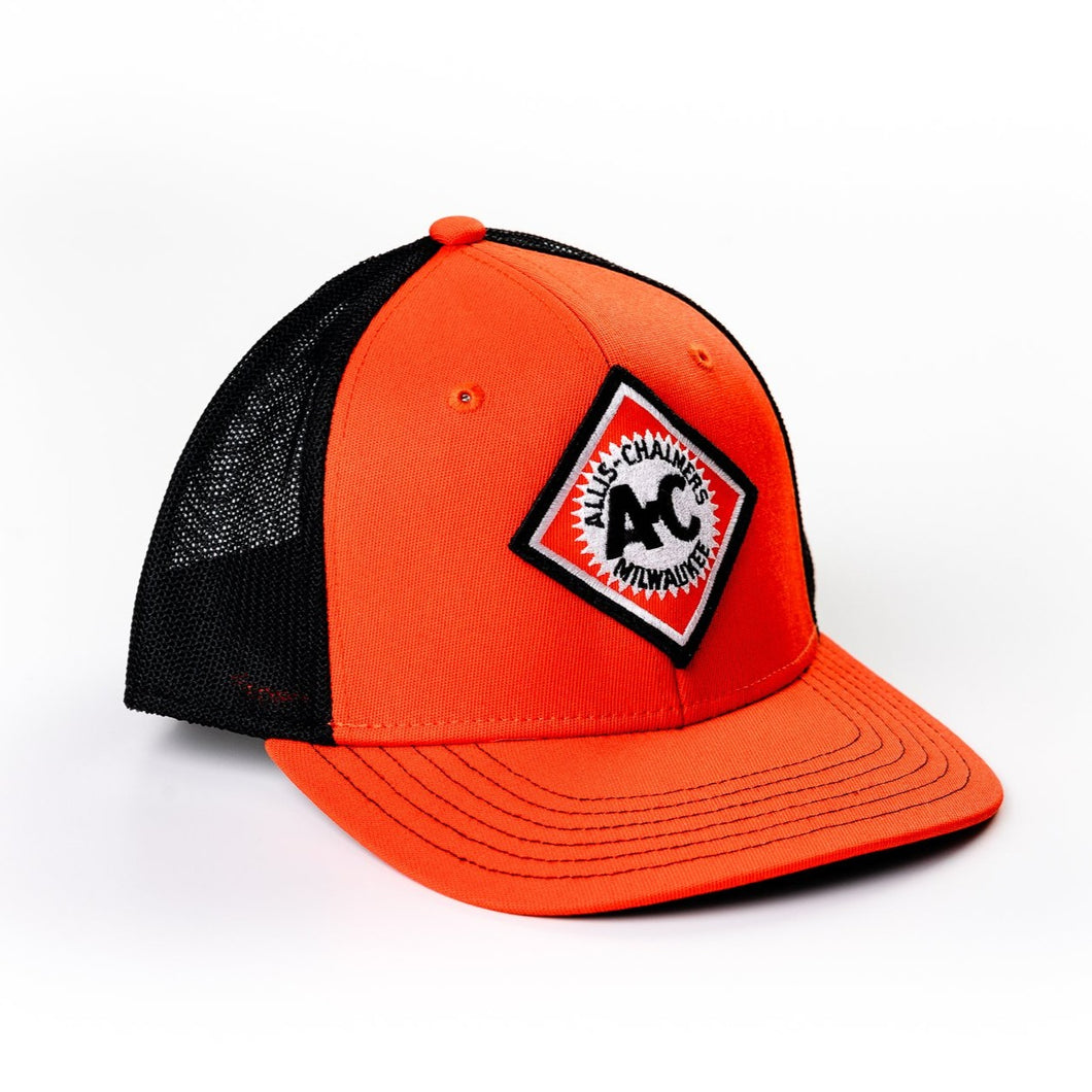 Vintage Allis Chalmers Logo Hat, Fitted, Orange with Black Mesh