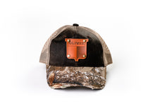 Load image into Gallery viewer, Vintage Oliver Leather Emblem Hat, Distressed Camo Mesh