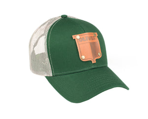 Vintage Oliver Leather Emblem Hat, Green Mesh