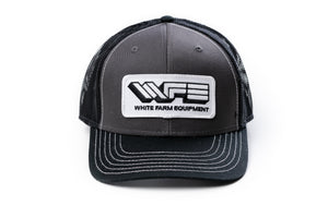 White Farm Equipment Hat, Gray with Black Mesh Back