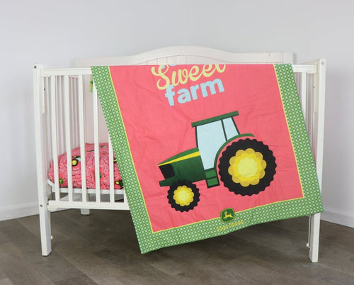 Tractor Nursery Set, Quilt and Sheet featuring John Deere, Farm Sweet Farm Pink