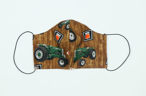 Face Mask Displaying Oliver Tractors, Adult Size, Brown