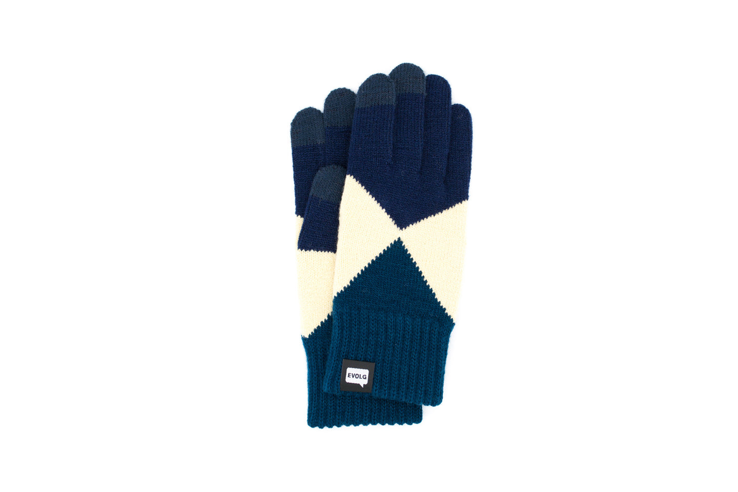 Evolg Mirage Touchscreen Gloves Navy x Vanilla x Deep Blue