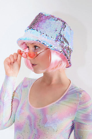 Reversible Flip Sequin Fluffy Bucket Hat *5 Colours