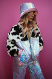 WEAR CARBS X LOONIGANS Cow Faux Fur & Celestine Sequin Jacket