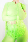 Neon Mesh Fringed Crop Top *4 Colours
