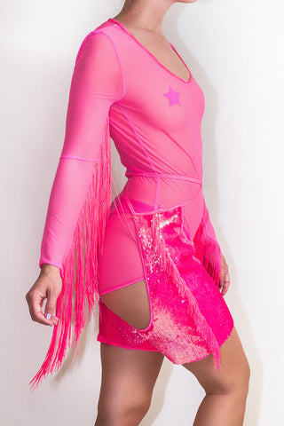 Neon Flip Sequin Fringed Mini Chaps *4 Colours
