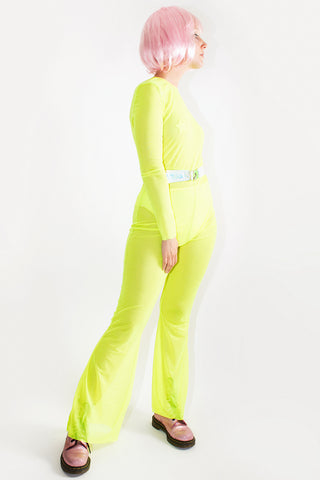 Neon Mesh Flared Catsuit *4 Colours