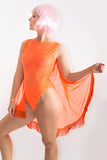 Neon Mesh Fringed Cape Bodysuit *4 Colours