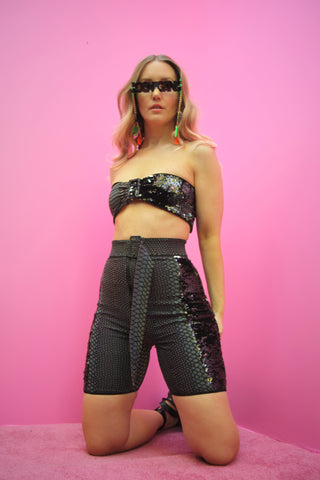 Reflective & Sequin Zip Shorts