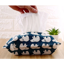 Polar Bear Linen Tissue Box Paper Container Napkin Storage Bag Towel Case Home Car