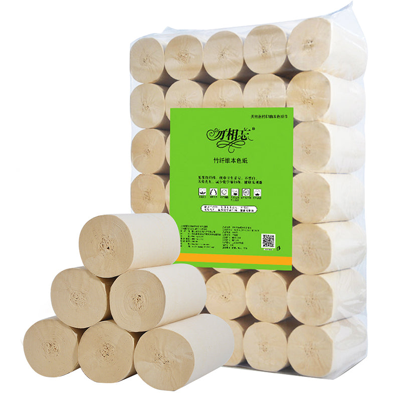 35 rolls natural color roll paper household toilet paper wholesale