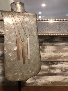 Long Brushed Metal Necklace