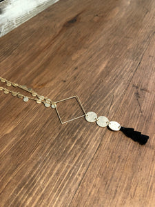 Tassel Necklace with Metal Shapes