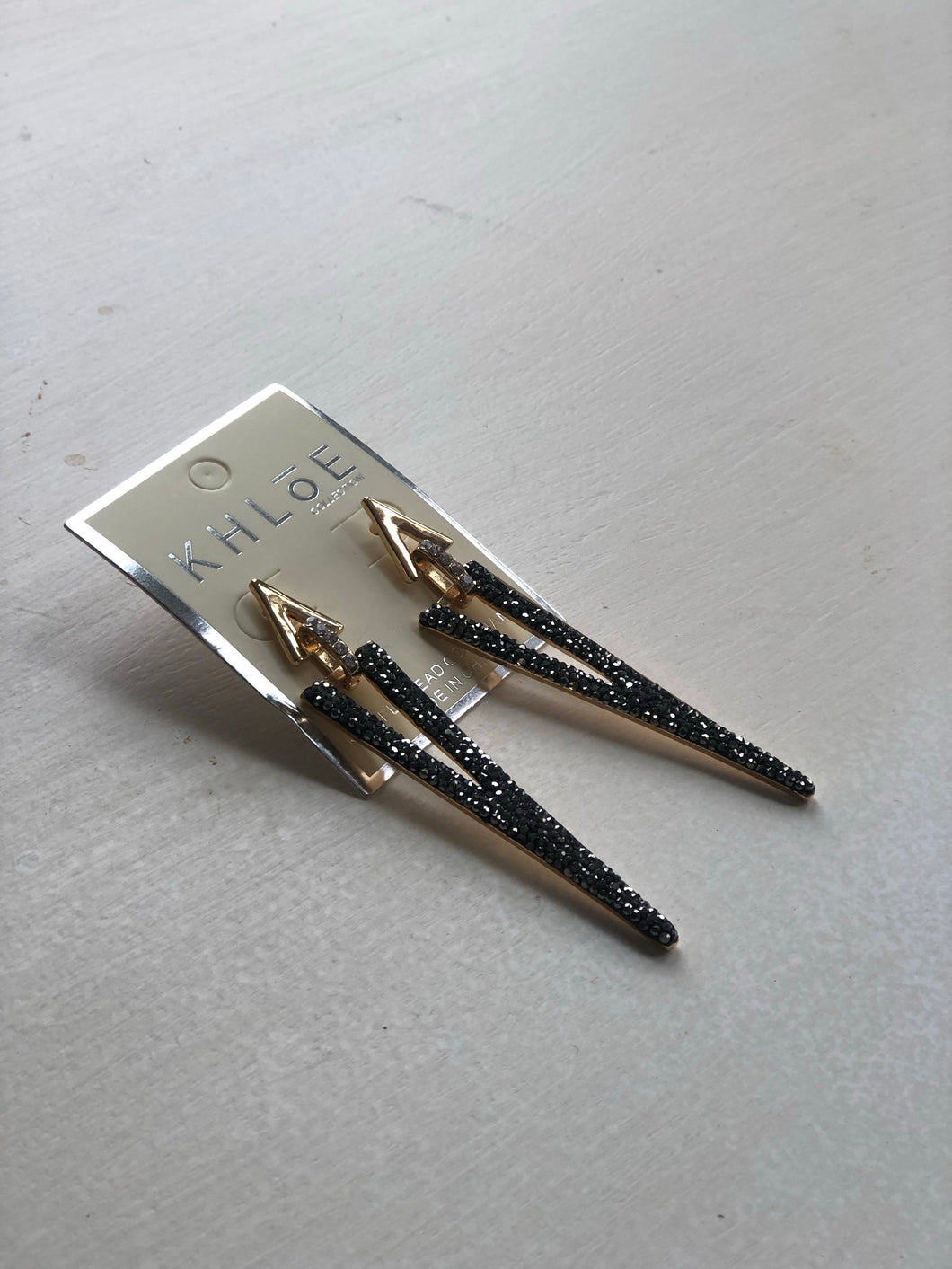 Modern Graphite and Gold Earring
