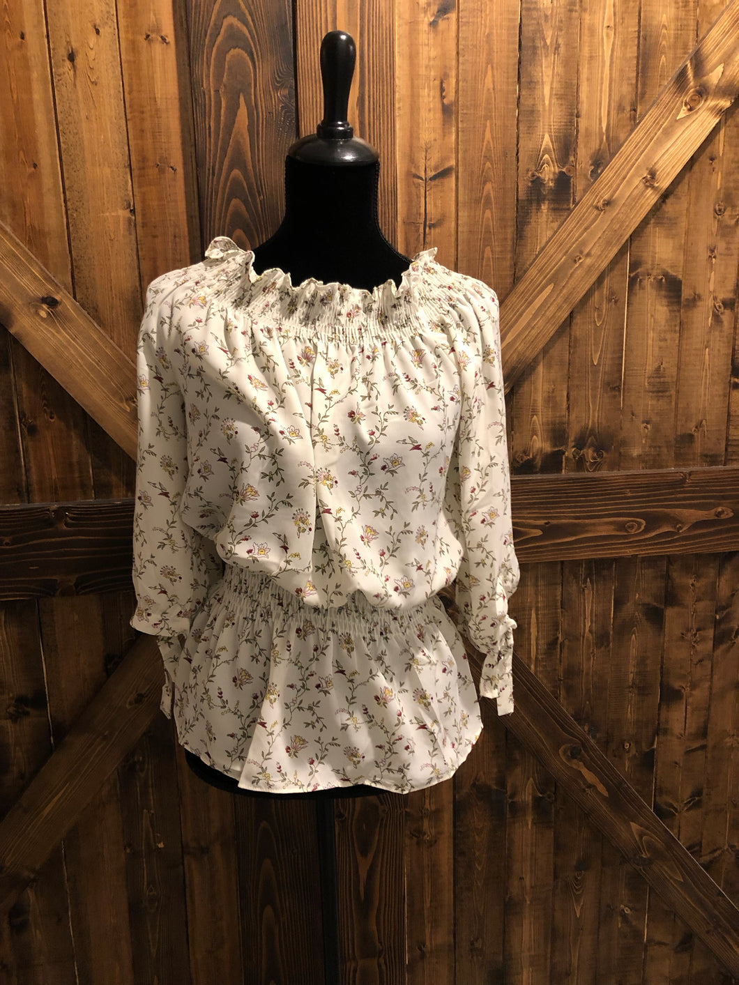 Off the Shoulder Floral Top w/ Smocking