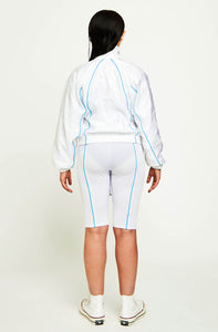 REFLECTIVE PIPED DRAWSTRING POCKET TRACK TOP