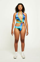 Load image into Gallery viewer, ASSYMETRIC O RING CONTRAST BINDED SWIMSUIT