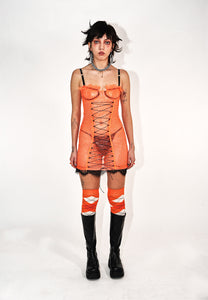 ORANGE SQUIGGLE MESH BUSTIER DRESS