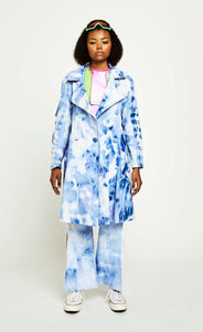 BLEACHED DENIM TECHNICAL TRENCH COAT