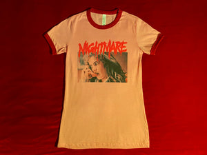 VHS Pink and Red Shoegaze Ringer Tee