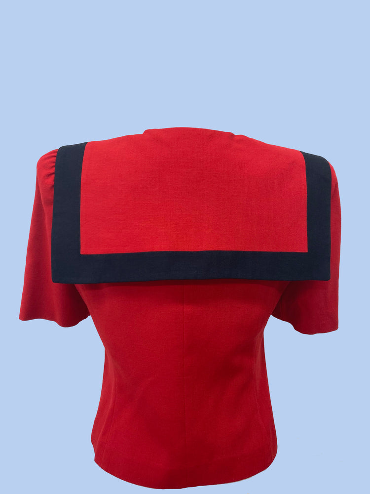 Come Sail Away With Me Red Sailor Top