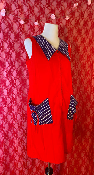 Load image into Gallery viewer, Vintage 70's Apple Red Dress