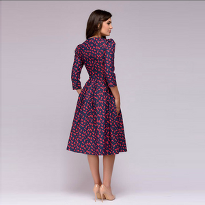 Women A-line Dress Vintage Printing Party Three Quarter Sleeve Women Spring Dress